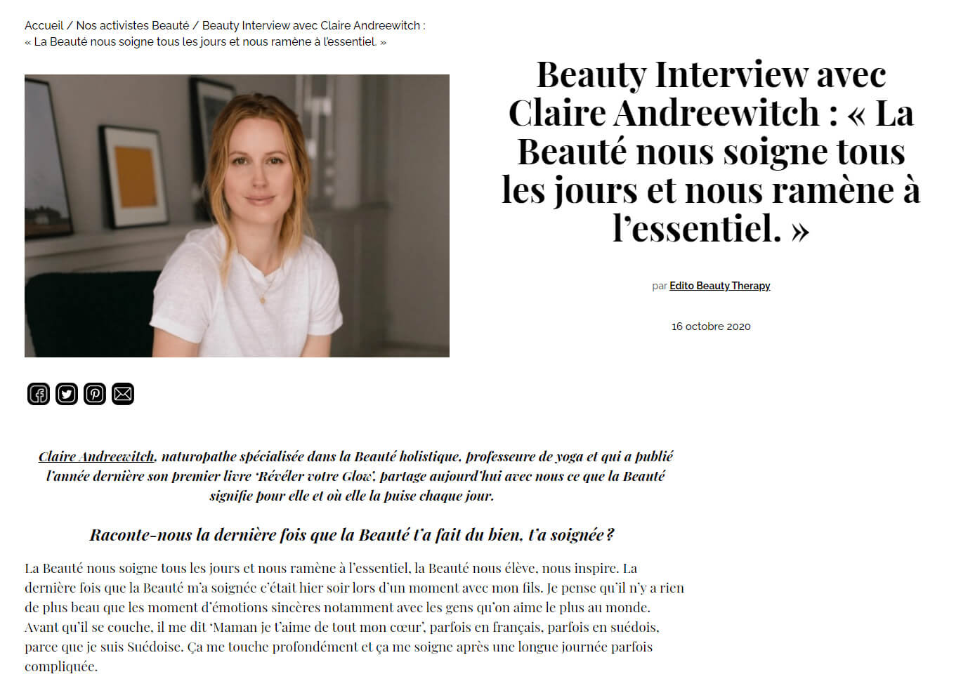 interview Claire Andreewitch beautytherapyabsolution.com